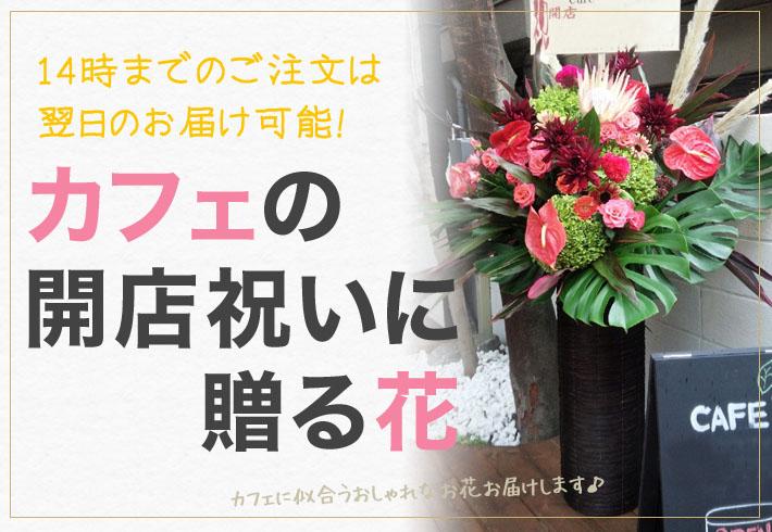 カフェ 開店祝いの花 東京 ネイティブフラワーイーダ