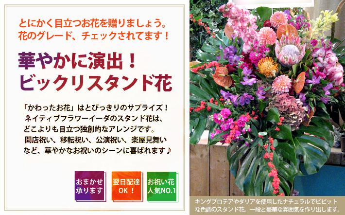 市谷砂土原町に贈る花 公演祝い花 楽屋花 開店祝い スタンド花 翌日配達可能 二子玉川の花屋