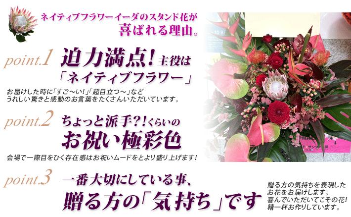 東京に贈るスタンド花はネイティブフラワーイーダにおまかせください。どこよりも目立ち喜んでいただけるスタンド花をお届けします。