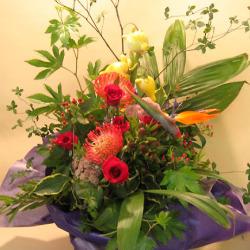 カフェ 開店祝い お祝い花 ピンクッションとフォックスフェイス 二子玉川の花屋