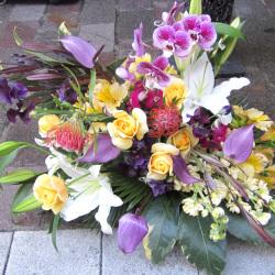 古希祝いの花 70歳の誕生日 アレンジメント 紫アンス 二子玉川の花屋 ネイティブフラワーイーダ