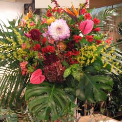 新装開店祝い 贈り物 スタンド花 黒パイプの2段スタンド花 二子玉川の花屋 ネイティブフラワーイーダ